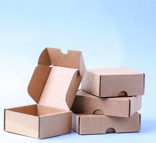 Carton boxes on a blue background