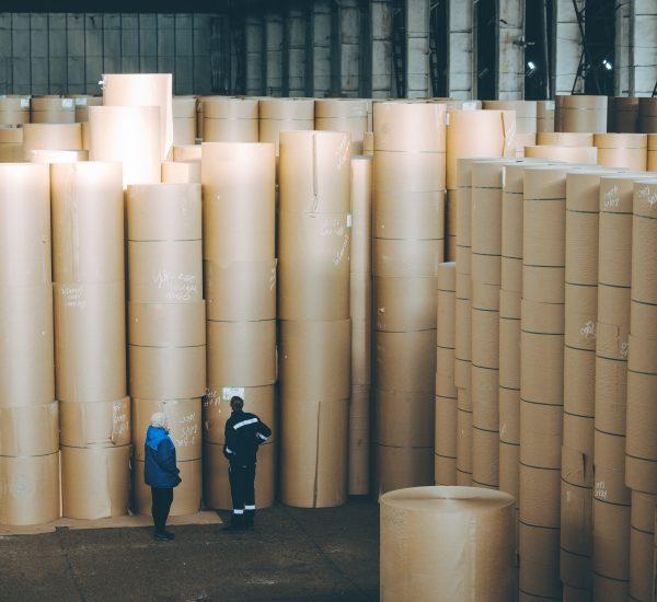 Storage,Paper,Carton,Paper,Factory,Many,Bobbin