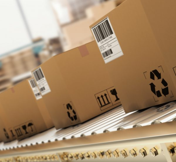 Packed,Courier,On,Production,Line,Against,Cardboard,Boxes,In,Warehouse